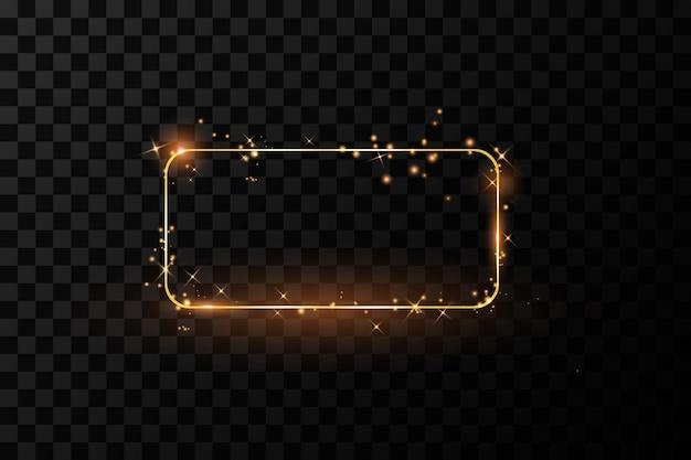 ライト効果イラストと金色のフレーム