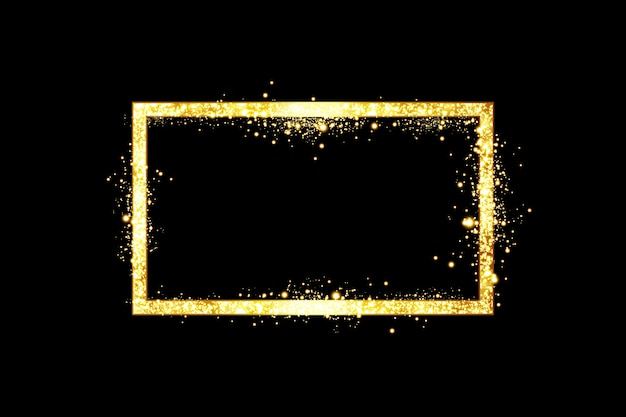 Golden frame with lights effects isolated on black