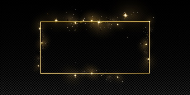 Golden frame with lights effects. isolated