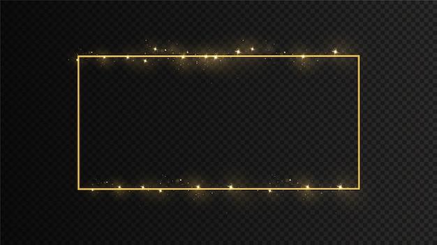 ライト効果のあるゴールデンフレーム。孤立