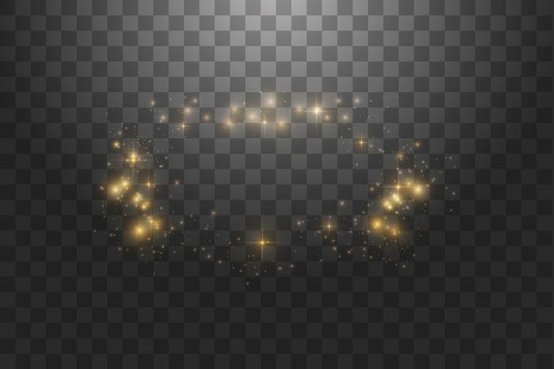Золотая рамка с световыми эффектами, сияющий роскошный баннер.
