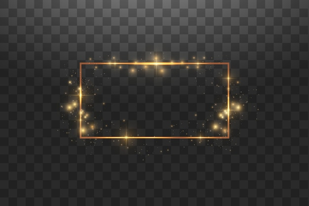 ライト効果のある金色のフレーム、輝く豪華なバナー。