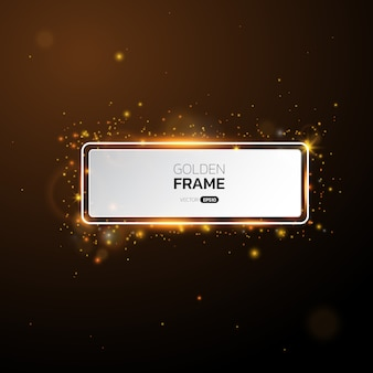 Golden frame with lights effects,shining luxury banner.
