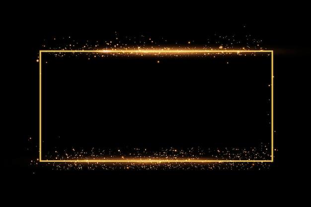 Золотая рамка с световыми эффектами. сияющий фон прямоугольника.
