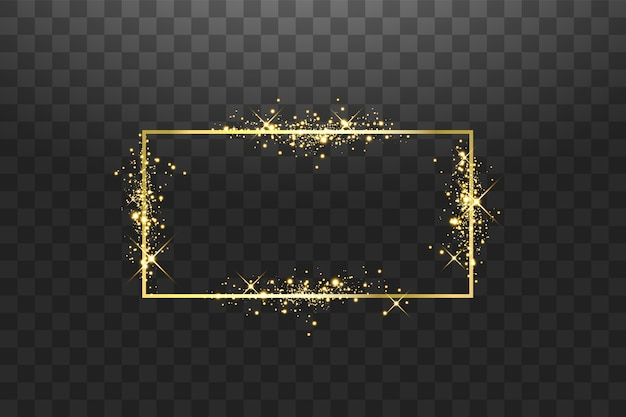 Golden frame with lights effects. shining rectangle banner. isolated on black background.