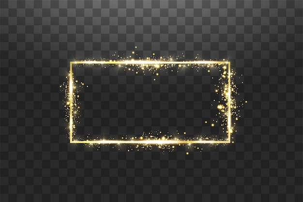 Золотая рамка с световыми эффектами. яркий прямоугольный баннер. изолированные на прозрачном фоне.