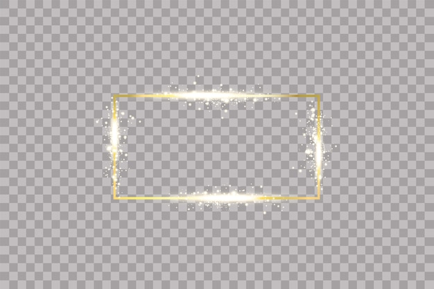 Golden frame with lights effects on transparent background