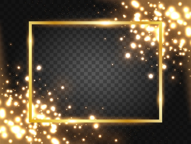 Golden frame with lights effects