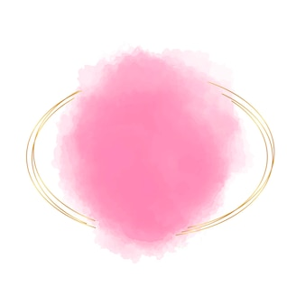 핑크 수채화 모양으로 골든 프레임