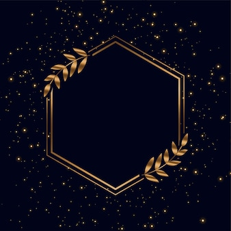 Golden frame with sparkles and leaves background