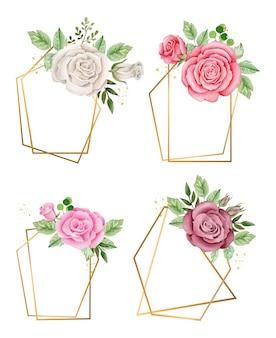 水彩画の花の構成と黄金のフレーム。ロマンチックな花のフレーム
