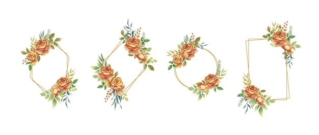 水彩のバラの花の花束と金色のフレーム