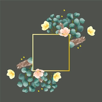 Golden frame with winter flowers