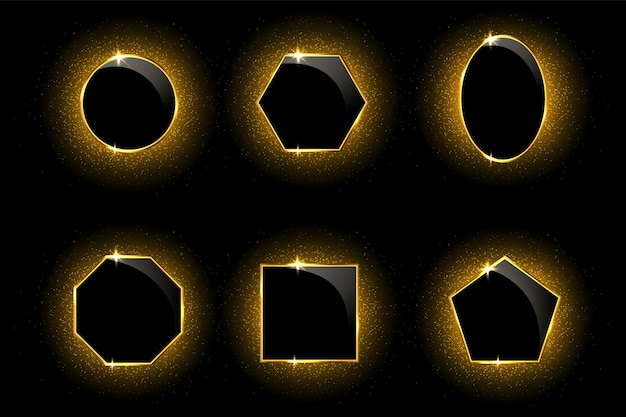 Golden frames on black with light effects