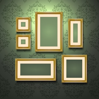 Golden frames on wall