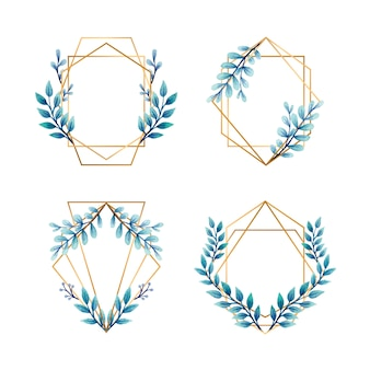 Golden frames with blue leaves for wedding invitations