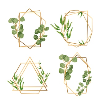 Golden frames with leaves for wedding invitation