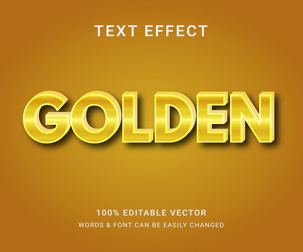 Golden full editable text effect