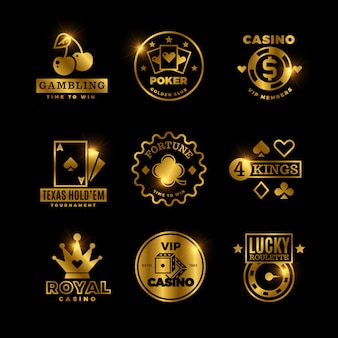 Golden gambling, casino, poker royal tournament, roulette labels, emblems, logos and badges