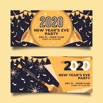 Golden garland and confetti new year 2020 banners