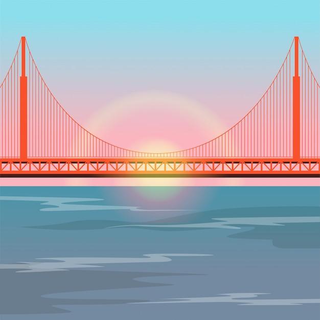 Golden gate bridge against the setting sun