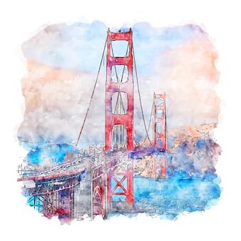 ゴールデンゲートブリッジカリフォルニア水彩スケッチ