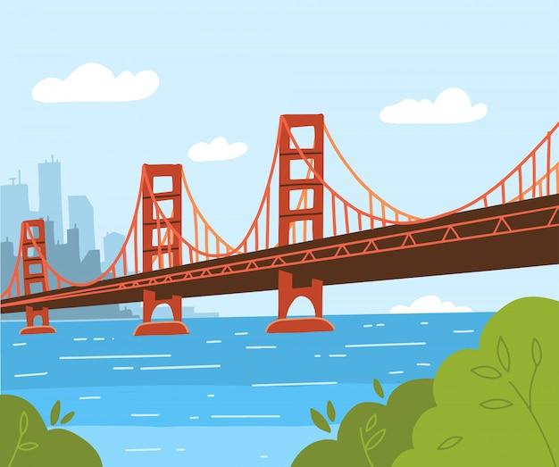 ゴールデンゲートブリッジのイラスト。フラットスタイルのデザイン。アメリカとアーバニズムの象徴