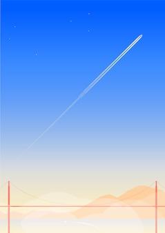 ゴールデンゲートブリッジの飛行機と最小限の青い空を横切る