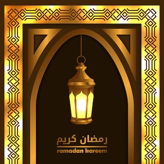 Golden gate windows mosque with lantern lamp for islamic event