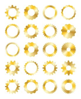 Golden gear on a white background