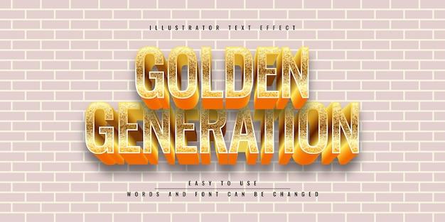 Golden generation illustrator редактируемый дизайн шаблона трехмерного текстового эффекта
