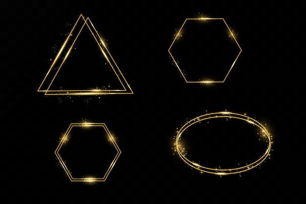 Golden geometric 3d object isolated on white