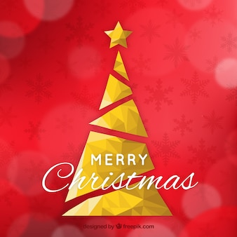 Golden geometric christmas tree background