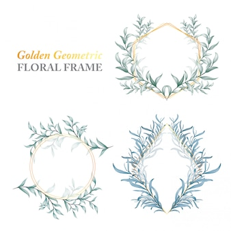 Golden geometric floral frame of wild leaves