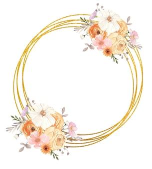 秋の花で飾られた黄金の幾何学的なフレーム