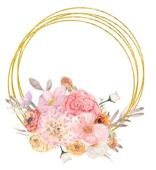 花で飾られた黄金の幾何学的なフレーム