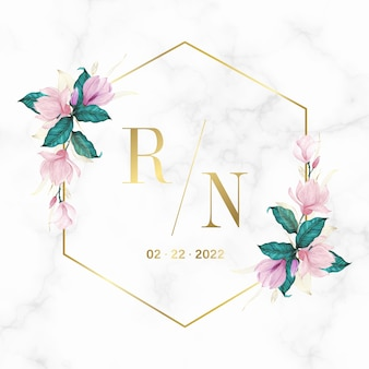 Golden geometric frame with floral on marble background for wedding monogram logo and invitation card