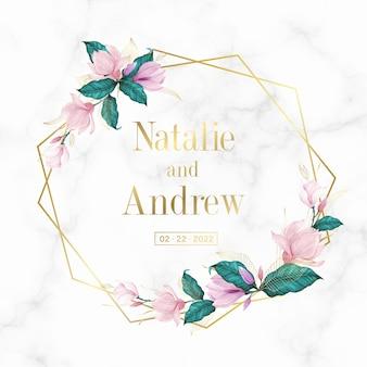 결혼식 모노그램 로고 및 초대 카드 대리석 배경에 꽃과 황금 기하학적 프레임