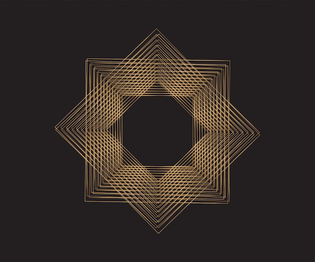 Золотые геометрические рамки. абстрактный фон.