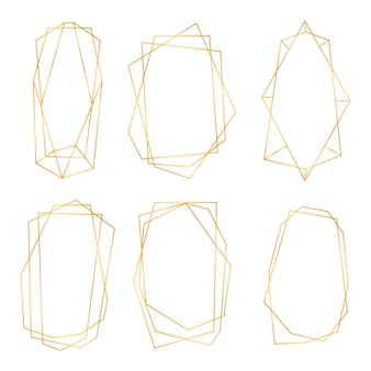 Golden geometric frames. collection of golden polygonal luxury frames. geometrical polyhedron design for wedding card, invitations, logo, book cover, art decoration and poster.  illustration
