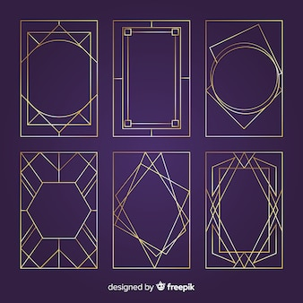 Golden geometric frames collection