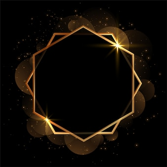 Golden geometric invitation blank frame background