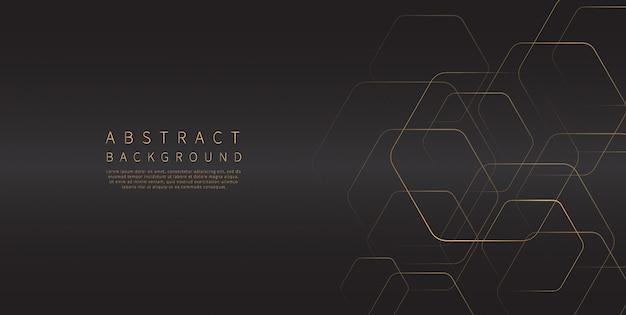 Golden geometric lines background