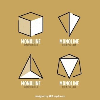 Golden geometric monoline logo set