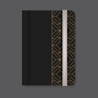 Golden geometric pattern cover of a black diary vector