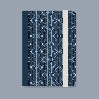Golden geometric pattern cover of a blue diary vector