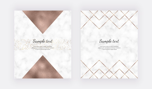 Golden geometric polygonal lines and gold foil triangles on the marble texture.