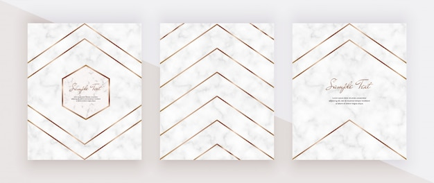 Golden geometric polygonal lines on the marble texture.