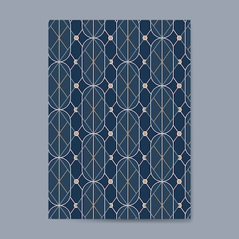 Golden geometric seamless pattern on a blue card