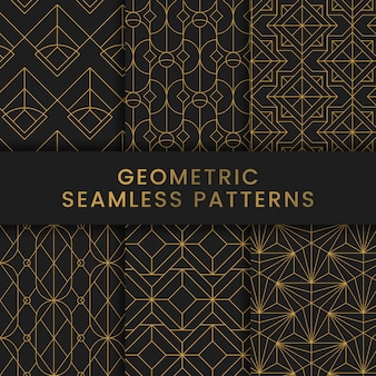 Golden geometric seamless patterns set on black background